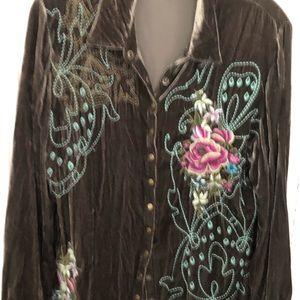 Artisan embroidered Jill velveteen blouse